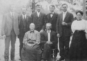 Photo of William F. Taylor family taken about 1907. The photo was probably taken after the death of the elder daughter, Mary Frances Taylor, who died on 14 October 1906. Since Margaret Morgan Taylor died on 8 August 1908, this photo appears to have been taken sometime between those two dates. Seated: Margaret Morgan Taylor (30 November 1839 – 8 August 1908) and William F. Taylor (19 February 1841 – 28 April 1914). Standing: Six of their nine children. I think they are, left-to-right: John Jefferson Taylor, Wilson Taylor, James T. Taylor, William Andrew Taylor, Henry B. Taylor, Samuel Taylor, Walter B. Taylor, and Lucy E. Taylor.