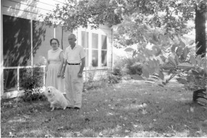 Van and Passie Witt Taylor outside their house, taken sometime in the 1950s.